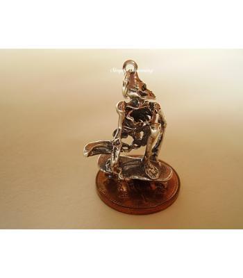 Skeleton on Skateboard Sterling Silver Pendant