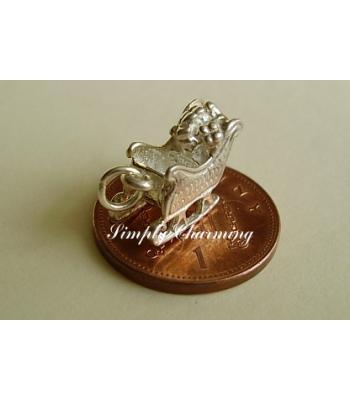 Santa Sleigh Sterling Silver Charm