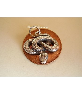 Coiled Snake Sterling Silver Charm