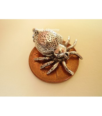 Spider Opening to Spinning Wheel Sterling Silver Charm