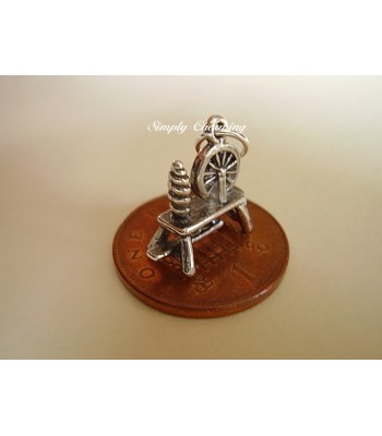 Spinning Wheel Sterling Silver Charm
