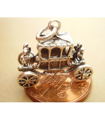 Queens State Coach Moving Sterling Silver Charm