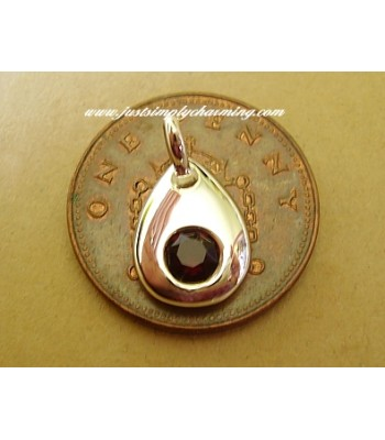 Sterling Silver Swarovski Garnet January Birthstone Charm