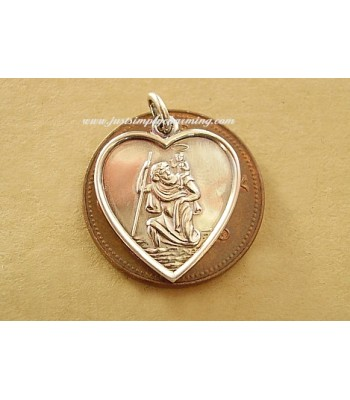 Sterling Silver Heart St Christopher Charm or Pendant