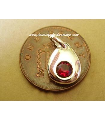 Sterling Silver Swarovski Ruby July Birthstone Charm