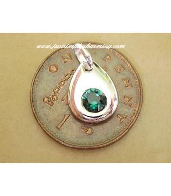 Sterling Silver Swarovski Emerald May Birthstone Charm