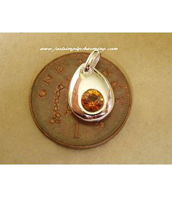 Sterling Silver Swarovski Topaz November Birthstone Charm