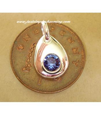 Sterling Silver Swarovski September Sapphire Birthstone Charm