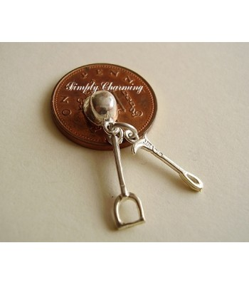 Riding Hat, Stirrup & Whip Sterling Silver Charm