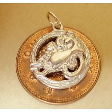 Isle Of Man TT Motorcycle In Surround  Sterling Silver Charm
