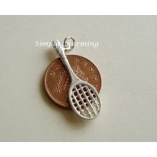 Tennis Racquet Sterling Silver Charm
