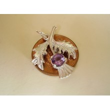 Thistle with Real Amethyst Sterling Silver Charm