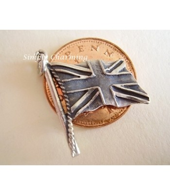 Union Jack Flag Sterling Silver Charm