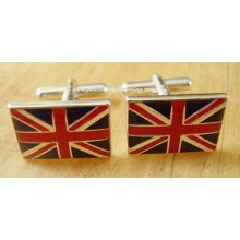 Enamelled Union Jack Flag Sterling Silver Cufflinks