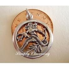 Virgo Zodiac Sterling Silver Charm or Pendant