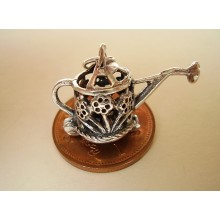 Watering Can Opening to Flower Sterling Silver Charm
