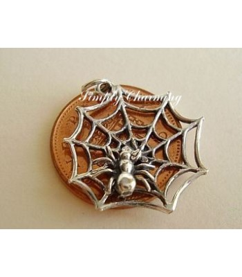 Spiders Web Moving Sterling Silver Charm
