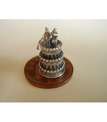 Three Tier Wedding Cake Sterling Silver Charm