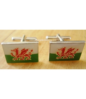 Enamelled Welsh Cymru Flag Sterling Silver Cufflinks