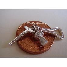 Corkscrew,Bottle Opener & Cork Sterling Silver Charm