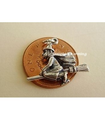 Witch on Broomstick Sterling Silver Charm