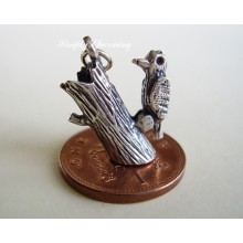 Woodpecker Moving Sterling Silver Charm