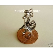 Loch Ness Monster Playing Bagpipes Sterling Silver Charm