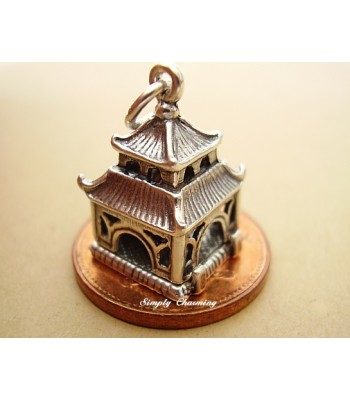 Pagoda Temple - Buddha Opening Silver Charm